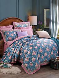 Blue Silk/Cotton Blend Full/Queen Duvet Cover Sets