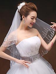Voiles de Mariée Deux couches Voiles longueur coude Bord orné de perles 33,46 dans (85cm) Tulle Blanc / Ivoire