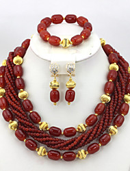 Marvelous Nigerian Wedding African Beads Jewelry Set Beaded Indian Bridal Jewelry Set