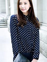 De las mujeres A Lunares Camisa-Escote Chino-Algodón-Manga Larga