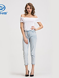 CANIS@Women's Off Shoulder Short Sleeves Blouse