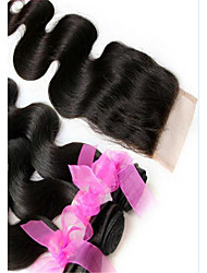 3Pcs/Lot Brazilian Virgin Human Weave Hair Weft Extensions 3 Bundles And Top Closure Free Part