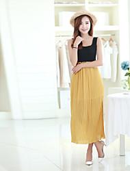 Women's Bohemian Elastic Waist Chiffon Vest Dress