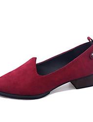Mocasines ( Negro/Verde/Rojo Comfort/Dedo Puntiagudo - Tacón Ancho - Cuero sintético - para MUJERES