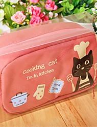 Cute Black Cat Fabric High Capacity Pencil Bag (Random Color)