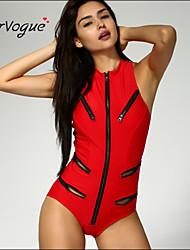Burvogue Women's Sexy Sport Zipper Front One Piece Swimwear Monokini