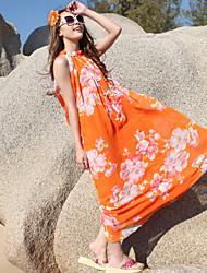 Women's printed beach maxi dress+1511