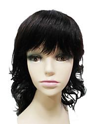 100 % Human Hair Capless Medium Length Curly Side Bangs Womens Wigs