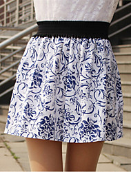 Women's Casual High Waist Porcelain Print Skirts