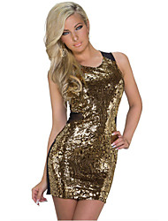 Women's Gold Sequin Sleeveless Adult Mini Dress