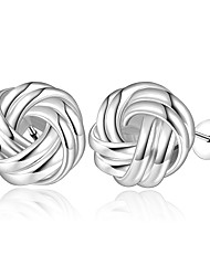 lureme® European Style Silver Plated Weave Button Shaped Stud Earrings