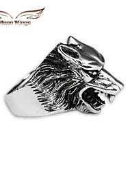 Moon Wings Solid Sterling Silver Wolf Head Vintage Mens Ring