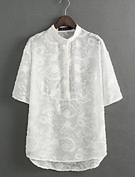 Women's Korea Sweet Stand Collar Sexy/Casual Short Sleeve Regular Shirt (Microfiber)