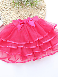 Girl's Sweet Waist Bow Decor Mesh Princess Multi-storey Skirt