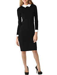 Women's Patchwork Black Dresses , Casual Pan Collar Long Sleeve