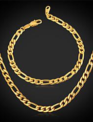 u7® ouro 18k grossa pulseira cheia colar de corrente figaro definir quatro milímetros 22 centímetros de 55 centímetros