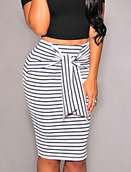 Women's Fashion Stripes Self-tie Midi Skirt