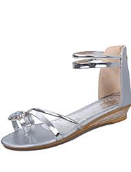 Sandalias ( Plateado/Dorado Zapatos con plataforma/Talón abierto - Tacón Cuña - Cuero sintético - para MUJERES