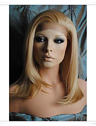 Blonde 8inch-22inch 100% Virgin Human Hair Natural Straight Lace Wigs LWG001 Photo Color #27/613 Length 14""