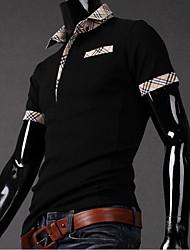 T-Shirts ( Coton/Lycra/Polyester ) Informel/Soirée/Travail Col chemise à Manches courtes pour Homme