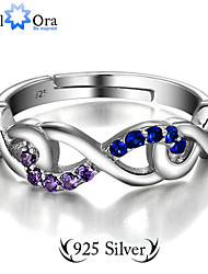 Guarantee 925 Sterling Silver Colorful Zircon CZ Infinity Ring Fashion Jewelry Adjustable Rings For Women