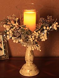 """impressions à domicile ™ 18 """"h crémeuse titulaire cèdre blanc de bougie avec pièce maîtresse de mixte de pin, comprennent 1 plateau en"""