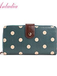 Anladia Womens Ladies Girls Purse Oilcloth Polka Dots Wallet Coin Pocket Zip Clutch Green