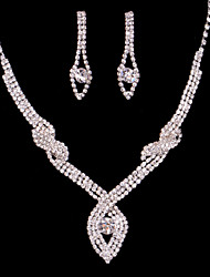 Women's/Ladies' Alloy Wedding/Party Jewelry Set With Rhinestone