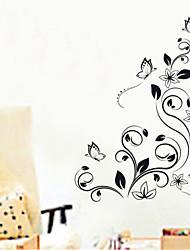 adesivos de parede adesivos de parede, flores pretas parede pvc etiquetas