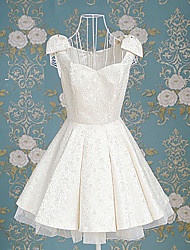 Sleeveless Short White Polyester Princess Lolita Dress