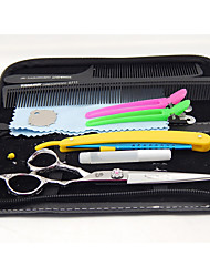 Tesouras do cabelo 6.0 polegadas com alça rosa&navalha dom gratuito&clipe&pente feito de aço inoxidável 440c Hitachi