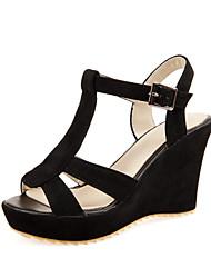 Zapatos de mujer - Tacón Cuña - Plataforma / Talón Descubierto - Sandalias - Oficina y Trabajo / Vestido - Semicuero - Negro / Beige