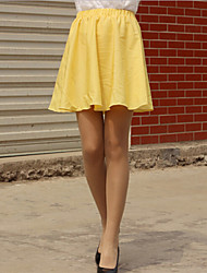 Women's Casual High Waist Yellow Mini Skirts