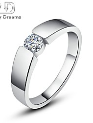 Poetry Dreams Solid Sterling Solitaire Cubic Zirconia Ring Men's Ring