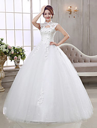 Ball Gown Wedding Dress Vintage Inspired Floor-length High Neck Organza with Appliques Beading
