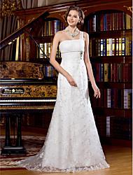 Lan Ting Sheath/Column Wedding Dress - Ivory Sweep/Brush Train One Shoulder Lace