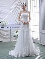 Trumpet/Mermaid Wedding Dress - White Sweep/Brush Train Strapless Lace