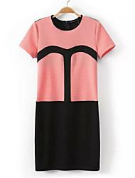 Women's Orange Dress , Casual Short Sleeve