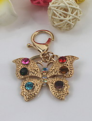 Fashion Unisex Shining Crystal Butterfly Pendant Keychains