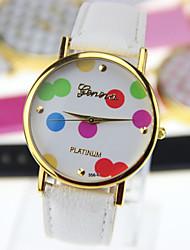 bande de cuir quartz analogique de geneve femmes de montre décontracté (couleurs assorties)