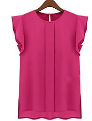 Women's Round Ruffle Tops & Blouses , Chiffon Casual/Work Short Sleeve CF