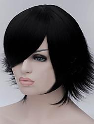 a nova cor dos desenhos animados peruca preta tornar-se deformados perucas de cabelo curto em linha reta