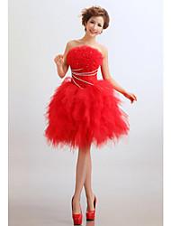 Cocktail Party Kleid - Rot Tülle - Princess-Stil - mini - trägerloser Ausschnitt