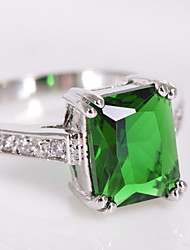 High Quality Fashion Platinum 10 KT Green Square Drill Zircon Ring