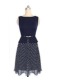 MDAL      Women's European Waisted Dots Sleeveless Dress