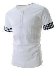 Katoen - Effen - Heren - T-shirt - Informeel - Mouwloos