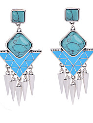 2015 New Ethnic Women Silver Plated Earrings Blue Resin Tassel Vintage Statement Dangle Earring Jewelry