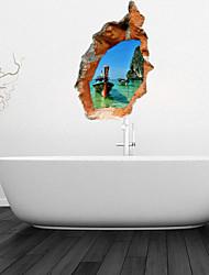 Adesivos de parede adesivos de parede 3d, canoa banheiro decoração da parede mural pvc adesivos
