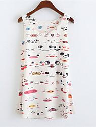 Women's Round Collar Smile Print Tank Top