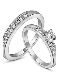T&C Women's 18K White Gold Plated with Pave Band 0.5ct Brilliant Cubic Zirconia Wedding Ring Set